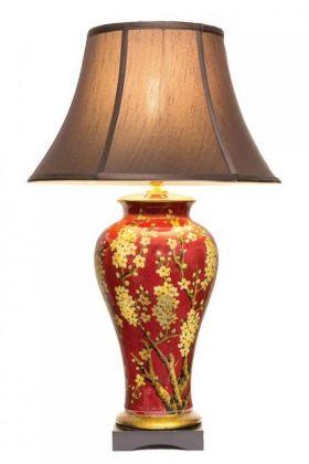 Keramická lampa - s květy jasmínu na temně červeném podkladu