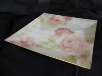 Talíř s růží - porcelán, čtyřhranný