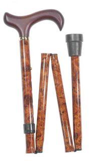 Skládací hůl/4618 prodloužená hnědý mramor - burr efect