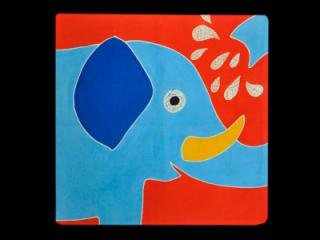 Polštář ručně malovaný - dětský pohled Slon 40 x 40 cm